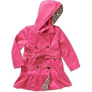Girl's Neon Pink Hooded Trench Rain Coat, 6X